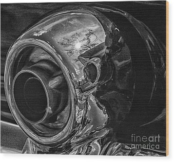 1955 T-bird Exhaust Chrome Wood Print by JRP Photography