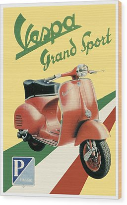1955 - Vespa Grand Sport Motor Scooter Advertisement - Color Wood Print