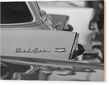 1956 Chevrolet Belair Nomad Rear End Emblem Wood Print by Jill Reger