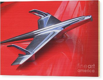 1956 Chevy Hood Ornament Wood Print by Mary Deal