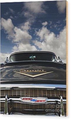 1957 Black Chevrolet Bel Air  Wood Print by Tim Gainey