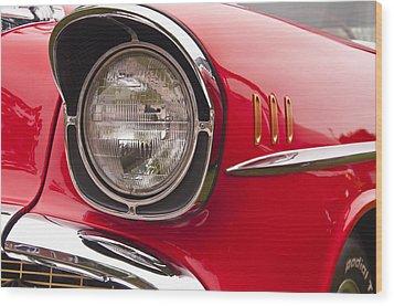 1957 Chevrolet Bel Air Headlight Wood Print
