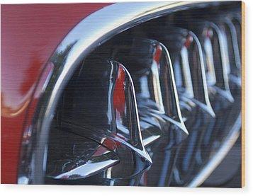 1957 Chevrolet Corvette Grille Wood Print by Jill Reger
