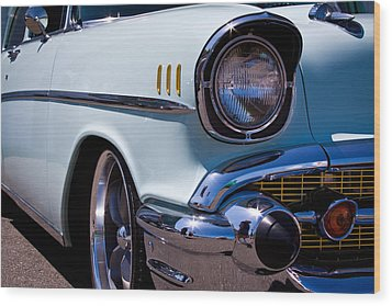 1957 Chevy Bel Air Custom Hot Rod Wood Print by David Patterson