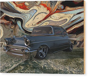1957 Chevy Bel Air Wood Print by Louis Ferreira