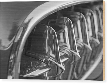 1957 Corvette Grille Black And White Wood Print by Jill Reger