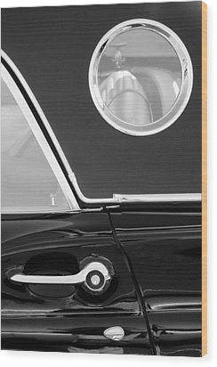 1957 Ford Thunderbird Window Black And White Wood Print by Jill Reger