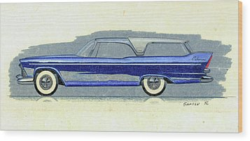1957 Plymouth Cabana  Station Wagon Styling Design Concept Sketch Wood Print by John Samsen