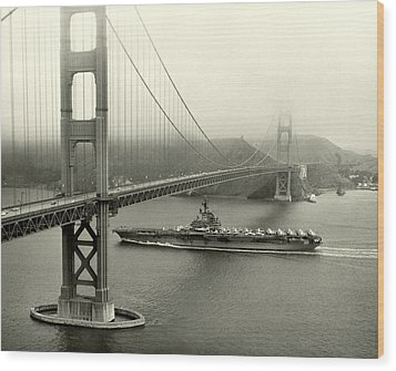 1957 Uss Hancock In San Francisco Wood Print by Historic Image