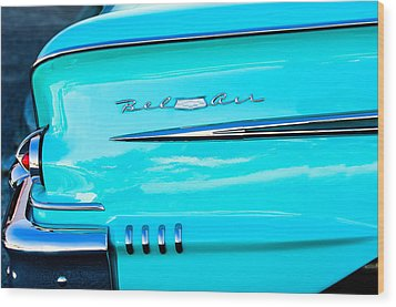 1958 Chevrolet Belair Tail Emblem Wood Print by Jill Reger