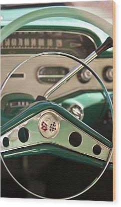 1958 Chevrolet Impala Steering Wheel Wood Print by Jill Reger