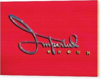 1958 Imperial Crown Convertible Emblem Wood Print by Jill Reger
