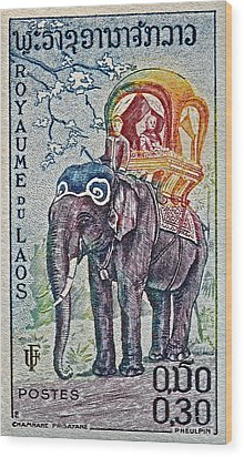 1958 Laos Elephant Stamp Wood Print by Bill Owen