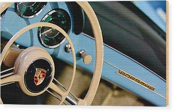 1958 Porsche 356 A Speedster Steering Wheel Emblem Wood Print by Jill Reger