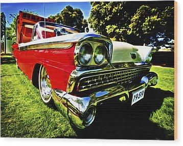 1959 Ford Fairlane 500 Skyliner Wood Print by motography aka Phil Clark