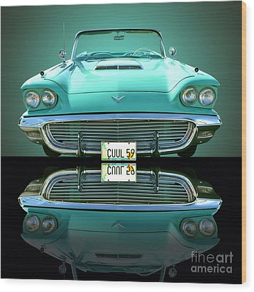 1959 Ford T Bird Wood Print by Jim Carrell