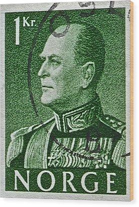 1959 King Olav V Norway Stamp - Oslo Postmark Wood Print by Bill Owen