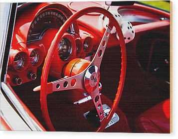 1959 Red Chevy Corvette Wood Print by David Patterson