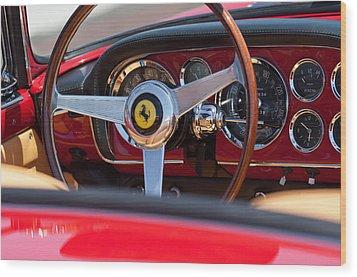 1960 Ferrari 250 Gt Cabriolet Pininfarina Series II Steering Wheel Emblem Wood Print by Jill Reger