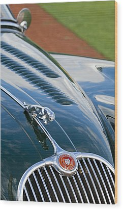 1960 Jaguar Xk 150s Fhc Hood Ornament 3 Wood Print by Jill Reger