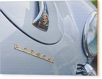1960 Porsche 356 B 1600 Super Roadster Hood Emblem Wood Print by Jill Reger