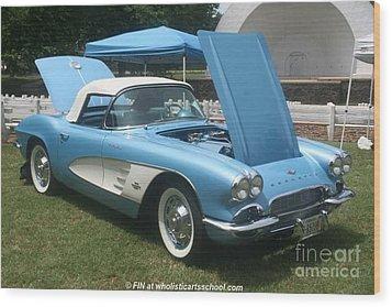 1961 Blue Jewel Metallic Corvette Wood Print