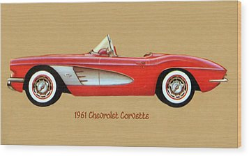1961 Chevrolet Corvette Wood Print by Walter Colvin