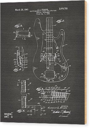 1961 Fender Guitar Patent Artwork - Gray Wood Print