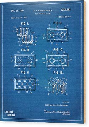 1961 Lego Brick Patent Artwork - Blueprint Wood Print by Nikki Marie Smith