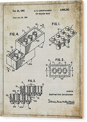 1961 Lego Patent Wood Print by Bill Cannon