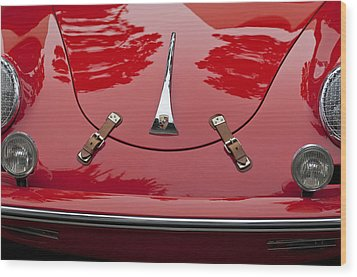 1961 Porsche 356 B Roadster Hood Emblem Wood Print by Jill Reger