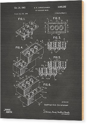 1961 Toy Building Brick Patent Art - Gray Wood Print by Nikki Marie Smith