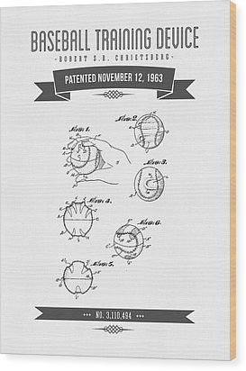 1963 Baseball Training Device Patent Drawing Wood Print by Aged Pixel