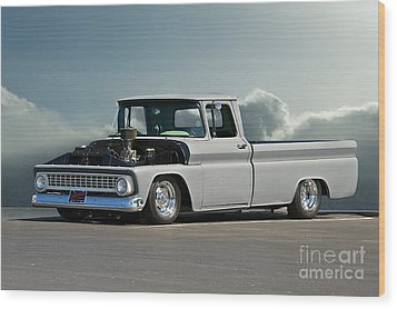 1963 Chevy 'low Rider' Pick-up Truck Wood Print by Dave Koontz