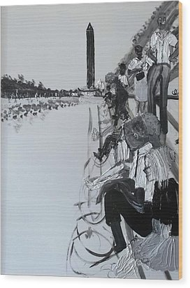 1963 D.c. Monument And Reflecting Pond Wood Print by Leslie Byrne