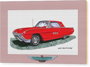 1963 Ford Thunderbird Wood Print by Jack Pumphrey