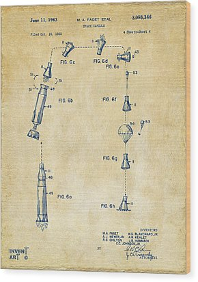 1963 Space Capsule Patent Vintage Wood Print by Nikki Marie Smith