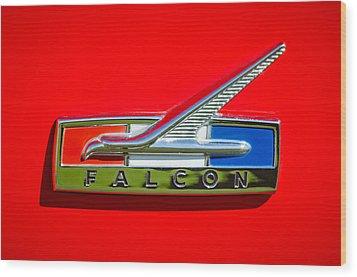 1964 Ford Falcon Emblem Wood Print by Jill Reger