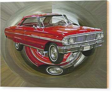 Wood Print featuring the photograph 1964 Ford Galaxie by B Wayne Mullins