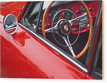 1964 Porsche 356 Carrera 2 Steering Wheel Wood Print by Jill Reger