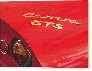 1964 Porsche Carrera Gts Taillight Emblem Wood Print by Jill Reger