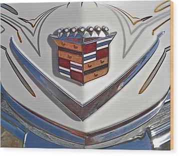 1965 Cadillac Hood Emblem Wood Print by Bill Owen