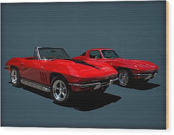 1965 Corvette Convertible And 1964 Corvette Stingray Wood Print by Tim McCullough