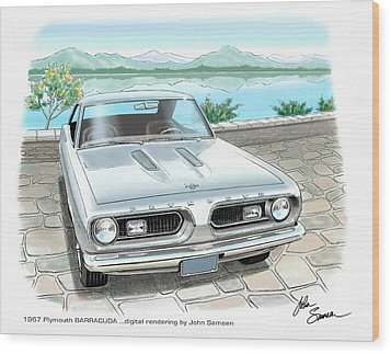 1967 Barracuda  Classic Plymouth Muscle Car Sketch Rendering Wood Print by John Samsen