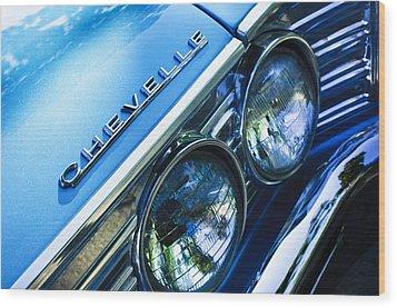 1967 Chevrolet Chevelle Malibu Head Light Emblem Wood Print by Jill Reger