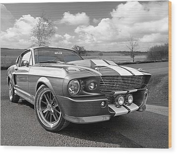 1967 Eleanor Mustang In Black And White Wood Print by Gill Billington