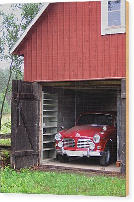 1967 Volvo In Red Sweden Barn Wood Print
