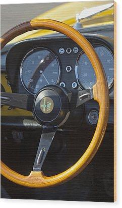 1969 Alfa Romeo 1750 Spider Steering Wheel Wood Print by Jill Reger