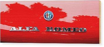 1969 Alfa Romeo Spider Veloce Iniezione Emblem Wood Print by Jill Reger