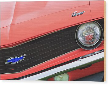 1969 Chevrolet Camaro Copo Replica Grille Emblems Wood Print by Jill Reger